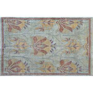 Style of william morris wool area rug with foliate decoration in caramel and brown on a sage green ground india ca 1990 unmarked 72 x 47