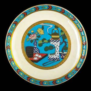 Minton enameldecorated porcelain plate with asian tea scene england 1874 marked g2610 9 dia