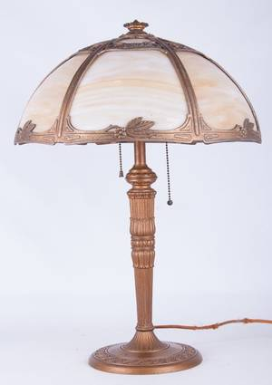 Early 20th Century Slag Glass Table Lamp