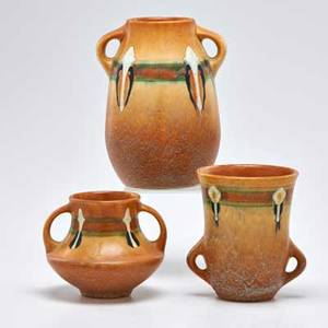 Roseville three brown montacello twohandled vases zanesville oh 1931 all unmarked tallest 7 12