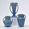 Roseville three blue windsor pieces two twohandled cabinet vases and one twohandled trumpet vase zanesville oh 1931 one with foil label tallest 7 14