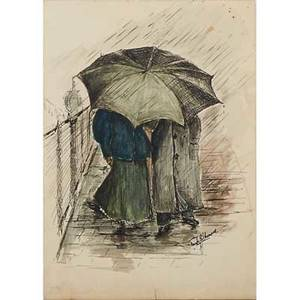 Frank earle schoonover american 18771972 ink and watercolor on paper of couple walking in the rain signed 7 34 x 5 12 sheet