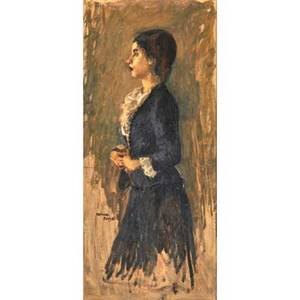 Raphael soyer american 18991987 oil on canvas of a young woman framed signed 22 x 10
