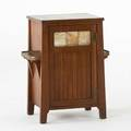 Arts and crafts vice cabinet ca 1915 quartersawn oak slag glass leading brass hardware unmarked 27 12 x 22 15