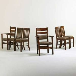Stickley brothers etc pair of stickley brothers armchairs together with a set of four arts  crafts side chairsusa ca 1910 armchairs branded and decals side chairs unmarked arm chair 39 x