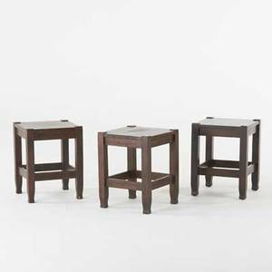 Stickley brothers three quartersawn oak tabourets with shaped feet usa ca 1910 one with metal quaint tag one with paper label each 18 14 x 14 sq
