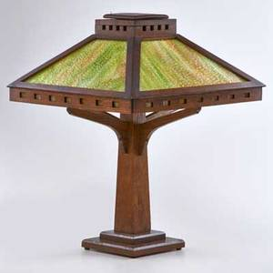 Arts and crafts quartersawn oak table lamp with square base pedestal shaft with green brown and cream textured slag glass shade ca 1915 unmarked 23 x 17 14 sq