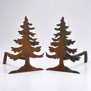Andirons pair fir treeshaped 20th c iron both unmarked each 14 x 10 x 14
