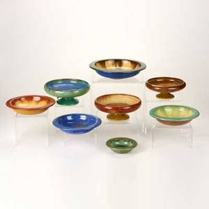 Fulper eight bowls flemington nj ca 19101928 three footed and five rimmed 410 glazed earthenware all but one marked tallest 3 12