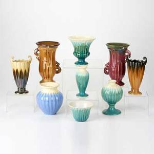Fulper nine vases flemington nj late 1920s seven ribbed forms and two art deco glazed earthenware four racetrack marks five horizontal diestamped marks tallest 9 12