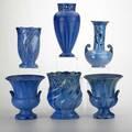 Fulper six vases flemington nj ca 19281935 glazed earthenware three in blue crystalline glaze horizontal diestamped marks tallest 10 14