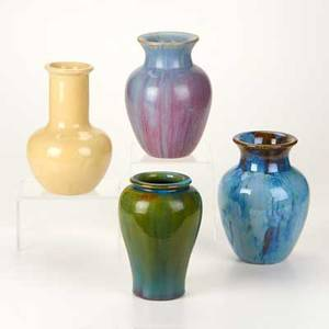 Fulper four rimmed vases flemington nj ca 19161928 glazed earthenware most marked tallest 8