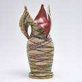 Style of loetz glass vase with pointed sectioned rim and threading 20th c unmarked 12 12 x 5 14 dia