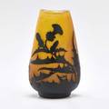 Galle cameo glass vase with thistle decoration on frosted glass ground nancy france early 20th c unmarked 7 14 x 4 dia