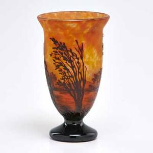 Daum cameo glass vase decorated with trees on frosted ground nancy france early 20th c acid etched daumnancyfrance 7 12 x 4 12 dia