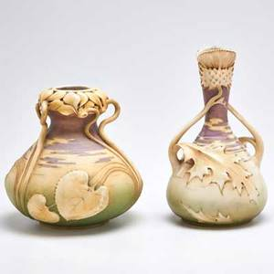 Mosanic pottery max emanuel and co amphora bud vase decorated with thistles together with bulbous vase decorated with cyclamen austria ca 1900 bud vase with red rstk stamp bulbous vase marked