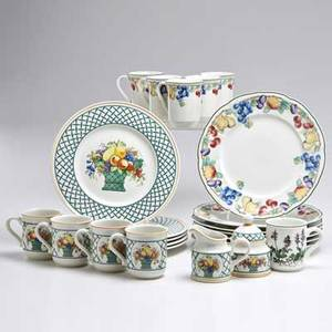 Villeroy and boch twenty four pieces germany second half 20th c set of seven dinner plates and five mugs in melina pattern set of five dinner plates three mugs creamer and sugar in basket patt