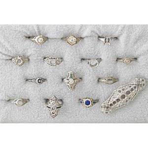 Art deco diamond semi mounts fourteen pieces most filigree five platinum rings and a brooch three 18k gold rings three 14k gold rings two undetermined rings 19201960 288 dwt