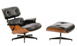Eames Black Leather Lounge Chair  Ottoman 670671
