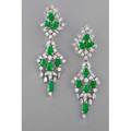 Marshs jade and diamond platinum earrings each transformable chandelier earring set with seven bright green translucent pearshaped jade cabochons marquise baguette cut and round brilliant cut dia