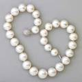 White south sea pearl and diamond necklace 29 spherical pearls 1524  12 mm 14k wg spherical clasp with pave set diamonds approx 25 ct tw 16