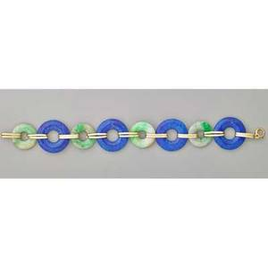 Art deco blue glass and jade 14k gold bracelet ca 1935 unmarked 7 34 x 1