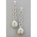 Grey south sea pearl and diamond 18k gold earrings each spherical pearl approx 14 mm suspends from graduated oval link diamond pave chain diamonds approx 80 ct tw 18k wg omega backs for pier