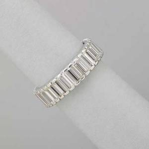 Baguette cut diamond platinum eternity band elegant shimmering line of 35 well matched straight baguette cut diamonds approx 45 cts tw ca 1970 size 6 12 316 29 dwt