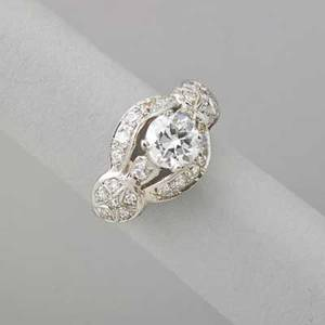 Diamond 14k white gold dinner ring oec diamond approx 105 cts and bead set diamonds approx 44 ct tw eastern star setting ca 1950 size 5 25 dwt