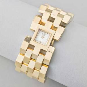 Gold tank track bracelet watch broad 14k gold ribbon of chamfered links avalon swiss 17 jeweled movement 1940s 6 12 x 1 667 dwt weight without movement