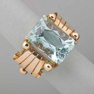 Retro 14k rose gold aquamarine ring modified emerald cut aquamarine 178 x 123 x 91 mm approx 12 cts with beaded ribbon shoulders ca 1945 size 7 58 dwt