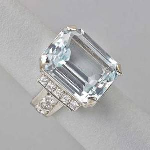 Aquamarine and diamond 14k white gold ring emerald cut aquamarine 186 cts by formula sixteen full brilliant cut diamonds approx 96 ct tw ca 1950 size 7 91 dwt
