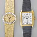 Two ladies gold mechanical wristwatches tiffany  co autowind 18k gold tank watch white dial with black roman hours sweep seconds swiss 17 jewels unadj 2670 bulova 17 jeweled dior bracelet