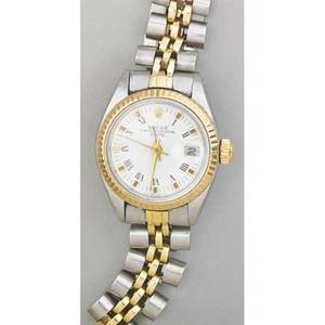 Rolex ladies oyster perpetual twotone wristwatch stainless steel and 14k yg case and bracelet white dial with applied roman numerals 28 jewels adj to five positions cal 2030 mvmt 931078