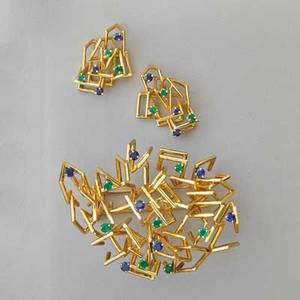 Modernist gem set 18k gold suite joseph wolf impeccably constructed brooch and earrings set with bright blue sapphires and emeralds ca 1965 brooch may be worn as pendant 299 dwt brooch 2 12