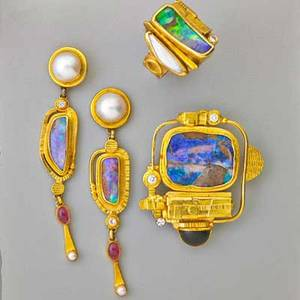 Ross coppelman gold opal sculptural suite broochpendant ring and pair of pendant earrings fused and textured 22k and 14k yg around boulder opal specimens with diamonds pearls and tourmaline acce