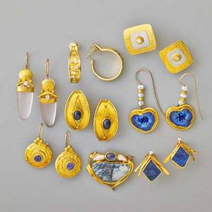 Ross coppelman artisanal gold jewelry fused and forged 22k 18k and 14k yellow and white gold includes seven pairs of earrings and a brooch 1 x 1 14 with diamonds sapphire pearls agate chryso