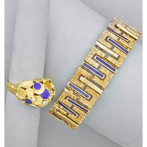 Modernist italian blue enamel and gold jewelry textured 14k gold strap bracelet by unoaerre italy with cobalt blue vitreous enamel marked brev 7 x 38 overlapped disk bombe ring with blue ena