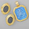 Naltchayan and other gold jewelry naltchayan 18k oval ear clips with roman soldier onyx cameos 1 14 octagonal blue venetian glass intaglio depicts centaur and maiden mother of pearl backed in su