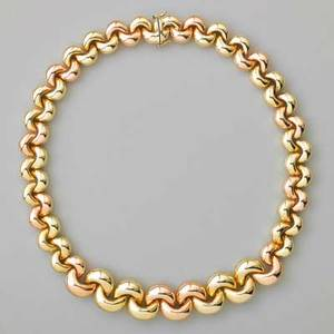 Pink and yellow 14k gold necklace plump crescent links italy ca 1980 18 x 78 tapers 598 dwt