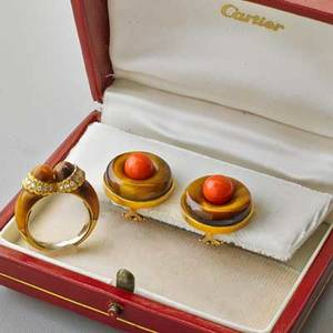 Cartier 18k yellow gold tigers eye jewelry disk ear clips with coral beads 22705 marked cartier 34 in box twin bead ring with diamond trim french control marks and cartier maker mark size