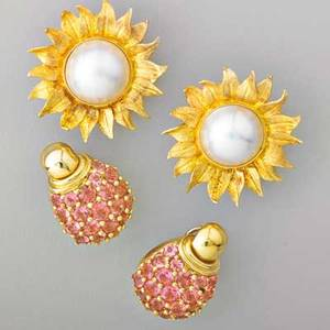 Pink tourmaline or mabe pearl 18k gold earrings globular pink tourmaline pave earrings in bright gold 1 14 mabe pearls 165 mm center textured gold sunflower ear clips 1 12 303 dwt