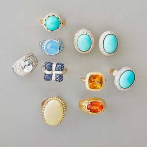 Collection of recent gemstone and gold jewelry eight rings and pair of earrings levian sapphire and diamond 14k wg wrapped cushion ring oval faceted mandarin garnet and diamond 14k yg ring aqu