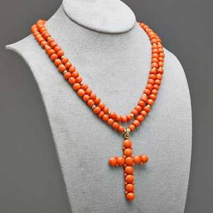 Coral bead cross necklace italian coral cross suspends from two concentric strands of semispherical coral and 14k gold beads 19th c cross 2 12 x 1 58 18 69 gs gw