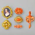 Six victorian brooches includes coral carved figural coral girandole brooch two postset coral button cluster brooches 14k gold brooch with coral and cannetille 14k gold hollow quatrefoil leaf bro