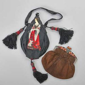 Two exceptional art deco evening bags glazed celluloid framed caviar and steel bead reembroidered silk depicts elizabethan knight and lady silver needlework highlights passementrie tassels with st