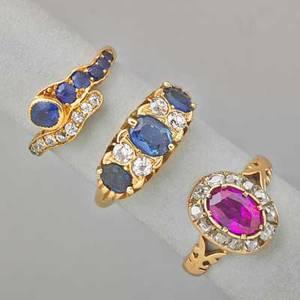 Three jeweled gold rings tiffany  co diamond and sapphire 18k yg serpentine ring size 5 12 english sapphire three stone 18k yg ring with 150 cts sapphire and 80 ct oec diamonds ca 1860