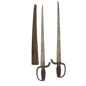 Southern chinese hudiedao or butterfly swords matched set iron blades brass guards mid 19th c 23 x 4 12