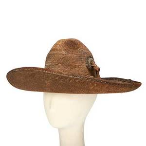 Mexican sombrero straw and leather with metal mounts late 19th20th c 10 x 18