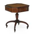 Regency style lamp table pedestal base leather top early 20th c 28 x 24 12